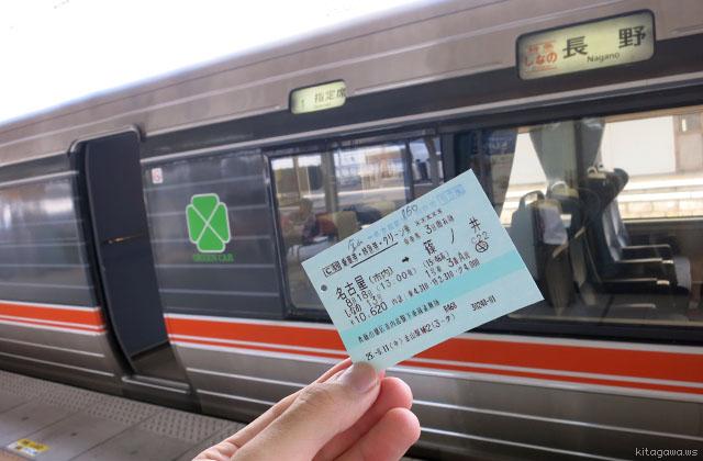 ワイドビューしなのグリーン車切符