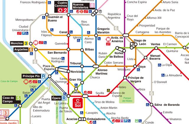 マドリード地下鉄路線図
