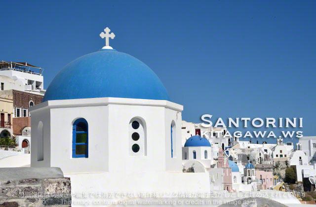 サントリーニ 青い 教会