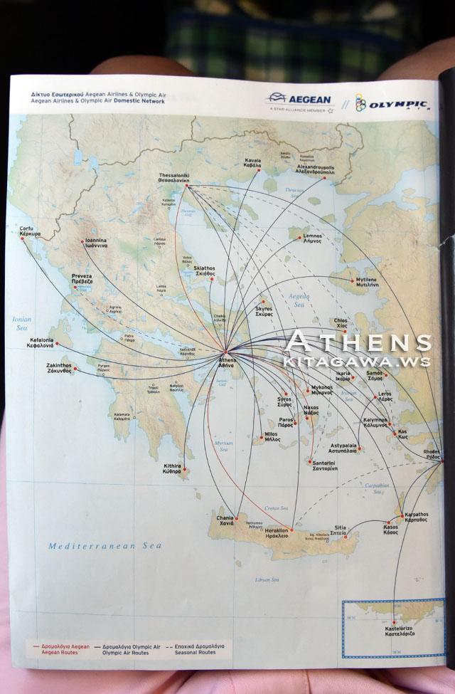 エーゲ航空 路線図