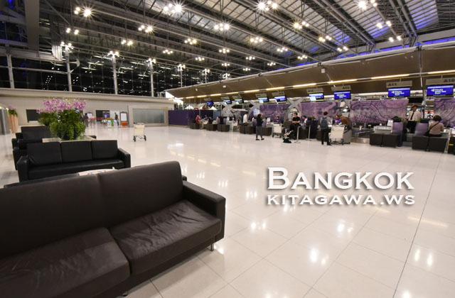 スワンナプーム空港タイ国際航空チェックインカウンター