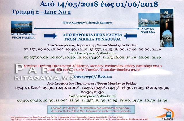 パロス島バス時刻表